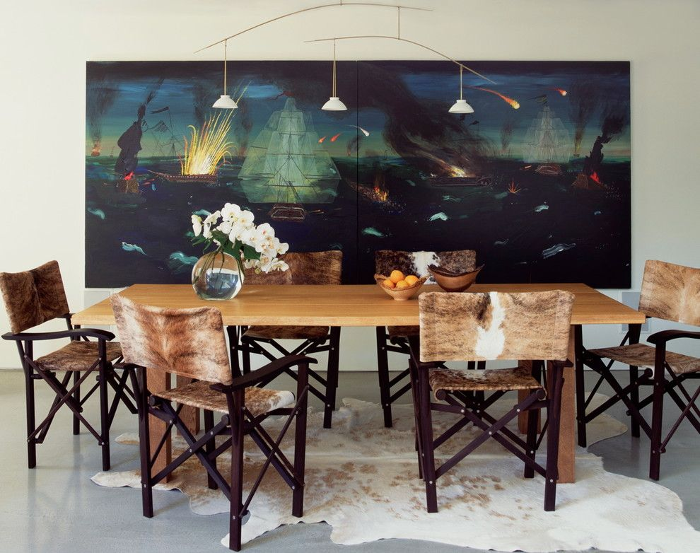 Holly Hunt Lighting for a Contemporary Dining Room with a Director Chairs and Venice Canals by Katie Leede & Company Studio