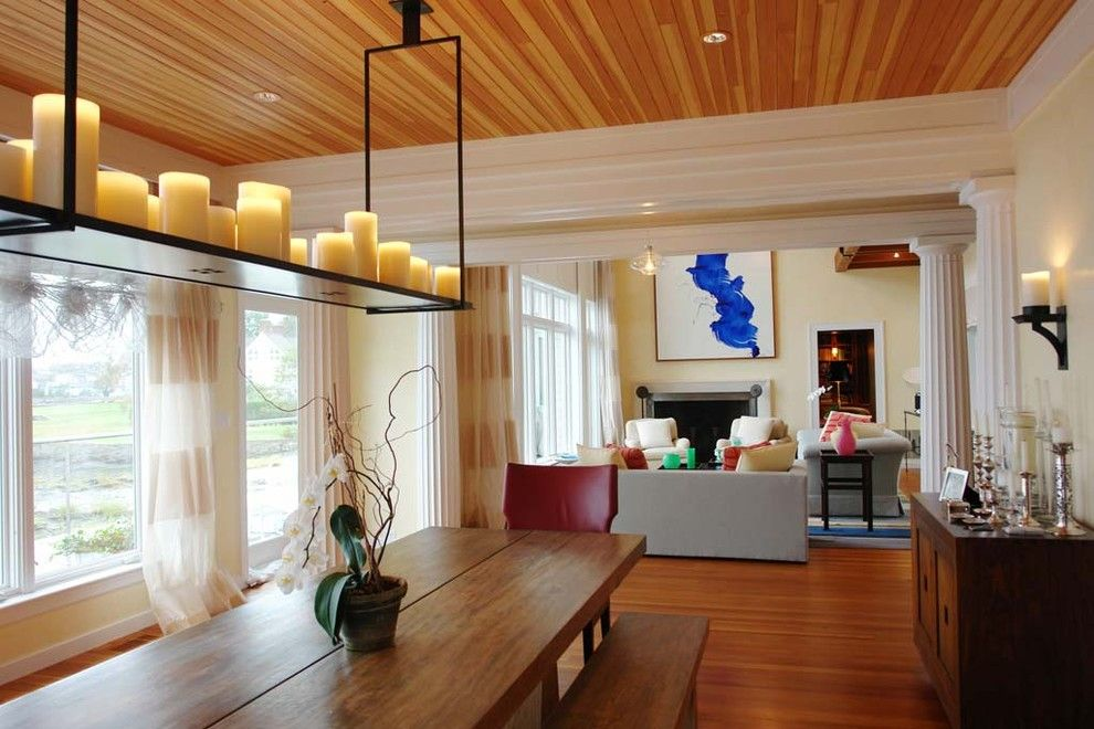 Holly Hunt Lighting for a Eclectic Dining Room with a Monumental and Old Greenwich Modern by Axis Mundi