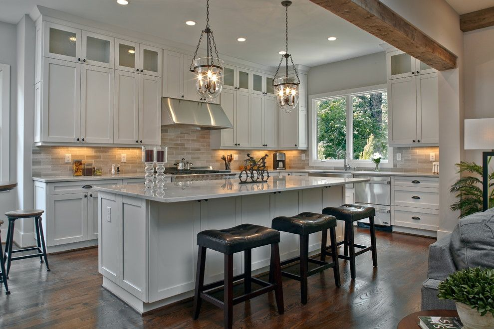 Holly Hunt Lighting for a Traditional Kitchen with a Double Drawer Dishwasher and Highland Terrace by Epic Development