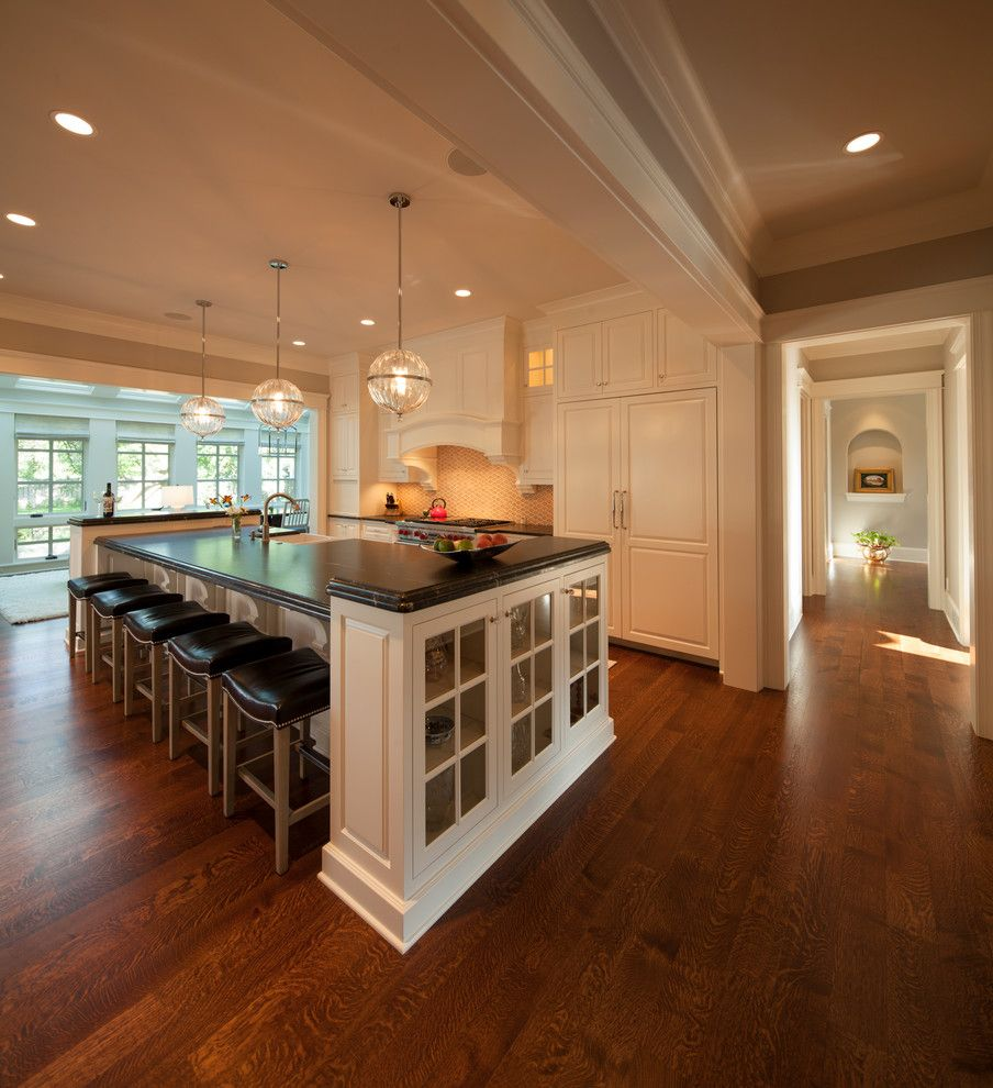 Holly Hunt Lighting for a Transitional Kitchen with a Custom Hood and Modern Twist on Tradition by Kyle Hunt & Partners, Incorporated