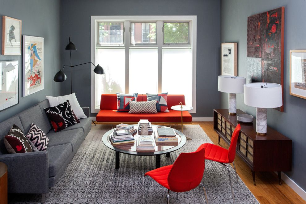 Hom Furniture Fargo for a Contemporary Living Room with a Tribal Pillows and Brooklyn Townhouse by Lindsay Pennington Inc.
