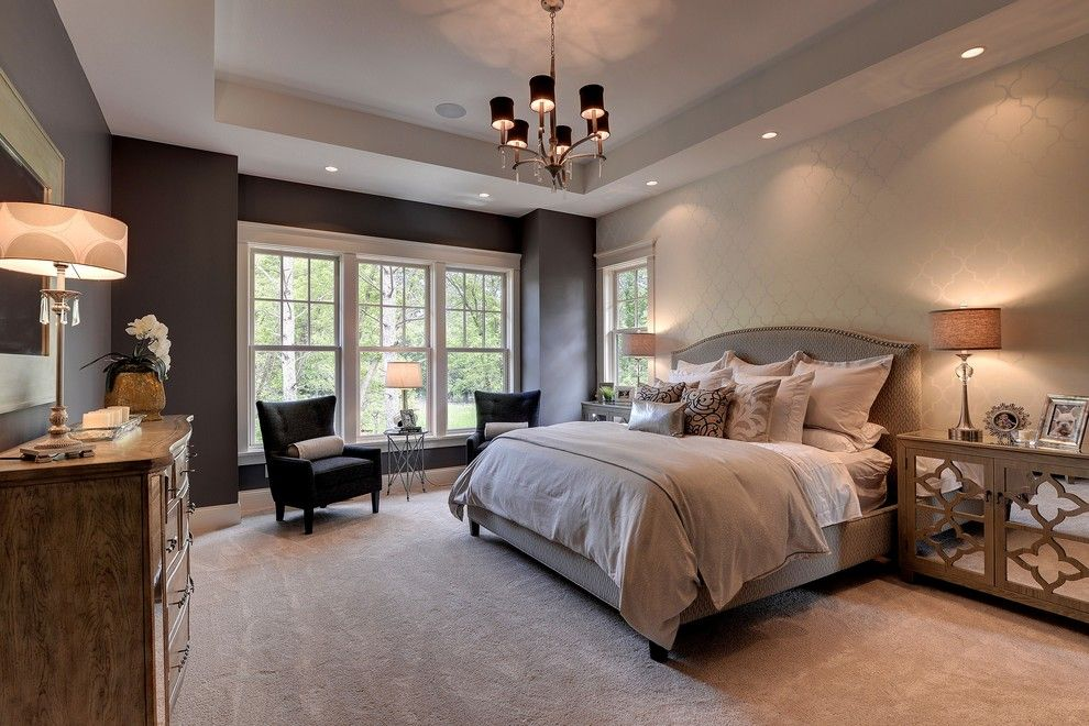 Home Depot Carpet Installation for a Traditional Bedroom with a Pendant Light and 2013 Luxury Home Inver Grove Heights by Highmark Builders