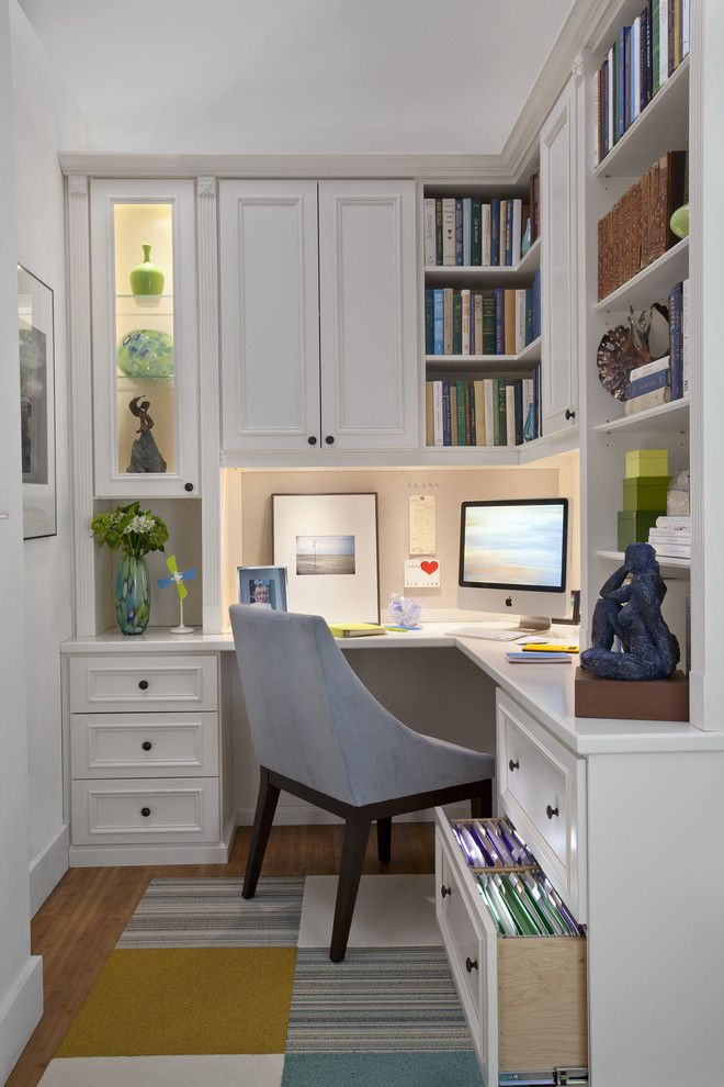 Home Depot Carpet Installation for a Traditional Home Office with a Efficient and Painted Maple Corner Office by transFORM | the Art of Custom Storage