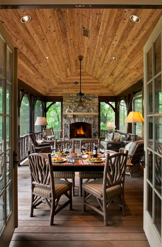 Home Depot Knightdale Nc for a Traditional Sunroom with a Rustic Wood Fireplace Ledge and Lake Toxaway by Kathryn Long, Asid
