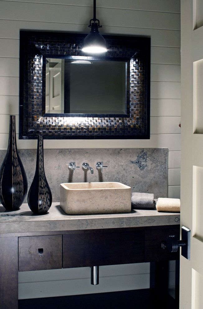 Home Depot Summerville Sc for a Traditional Powder Room with a Stone Sink and Modern Farmhouse by Curt Hofer & Associates