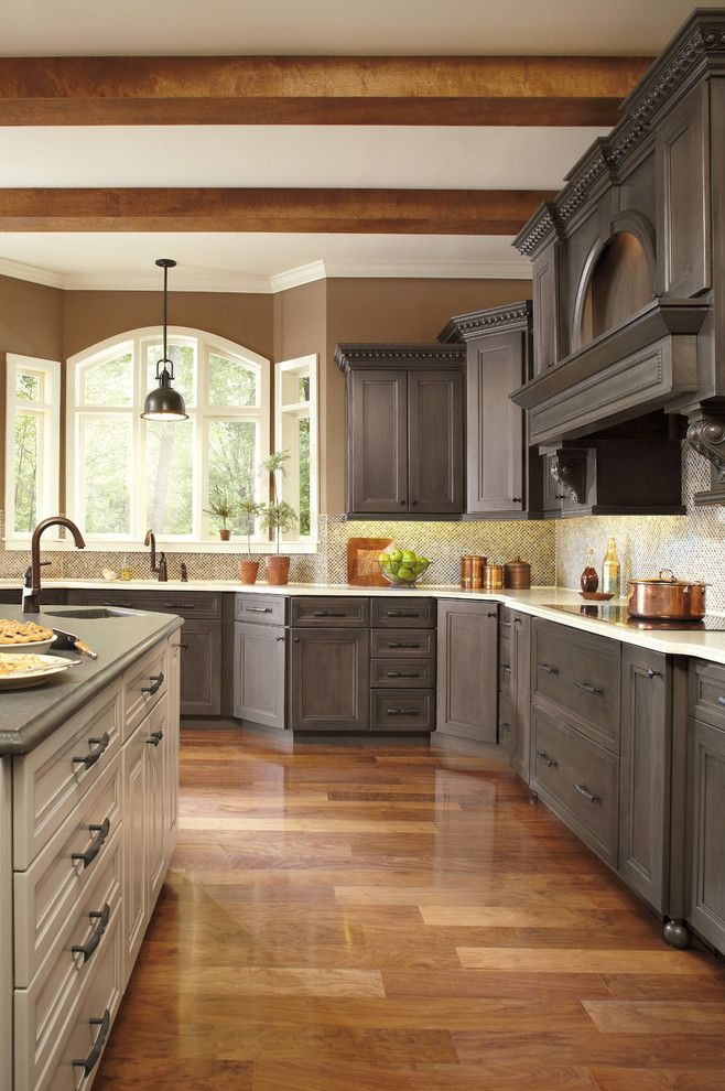 Homecrest Cabinetry for a Traditional Kitchen with a Wood Beams and Kitchen Cabinetry by Thomas Home Center