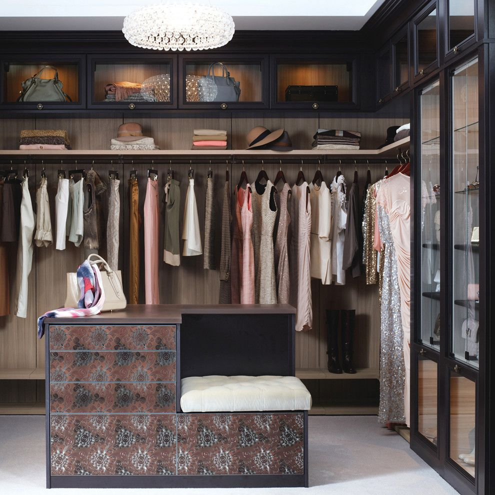 Homecrest Cabinets for a Contemporary Bedroom with a Closet Island and California Closets by California Closets Hq
