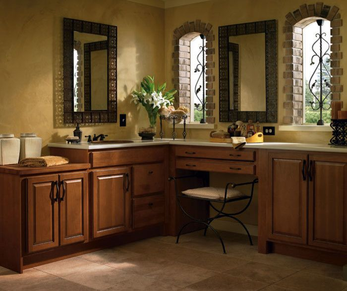 Homecrest Cabinets for a Traditional Bathroom with a Heartland Hickory Ebony Glaze and Homecrest Cabinets by the Floor Source & More