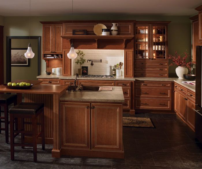 Homecrest Cabinets for a Traditional Kitchen with a Eastport Cherry Linen Glaze and Homecrest Cabinets by the Floor Source & More