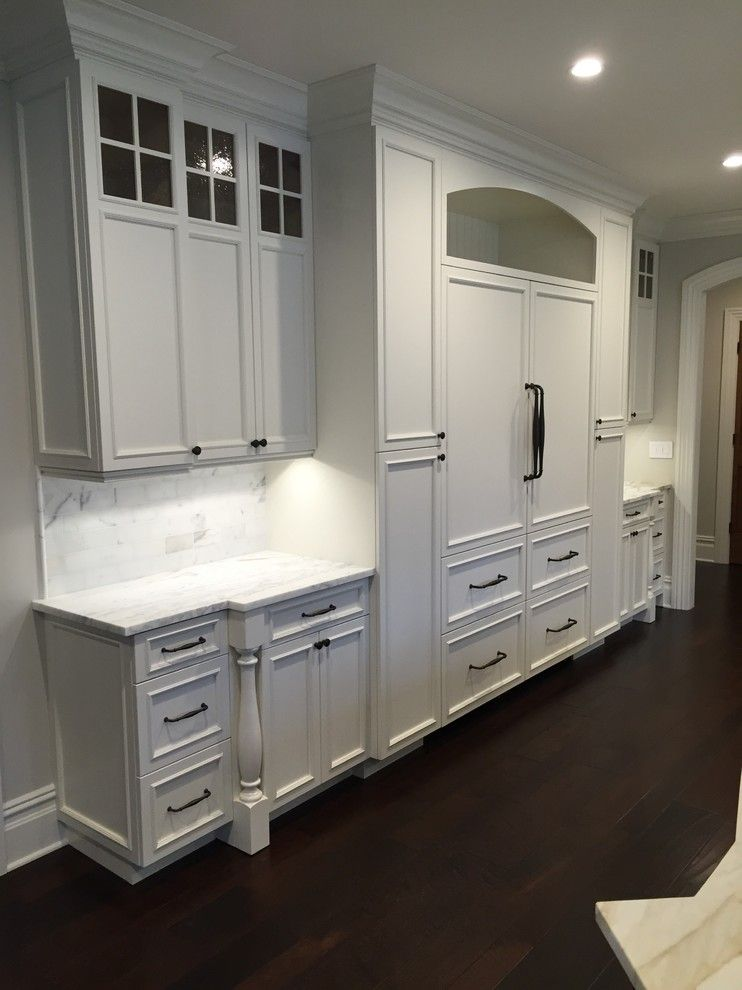Homecrest Cabinets for a Transitional Spaces with a Carrera Marble Countertops and Millstone New Jersey White Kitchen by Nj Cabinets   Designs by Anthony