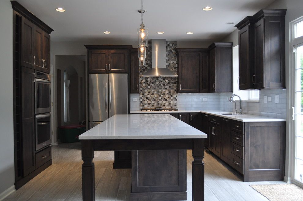 Homewerks for a Transitional Kitchen with a Grey and White Cabinetry and Minooka Kitchen by Homewerks