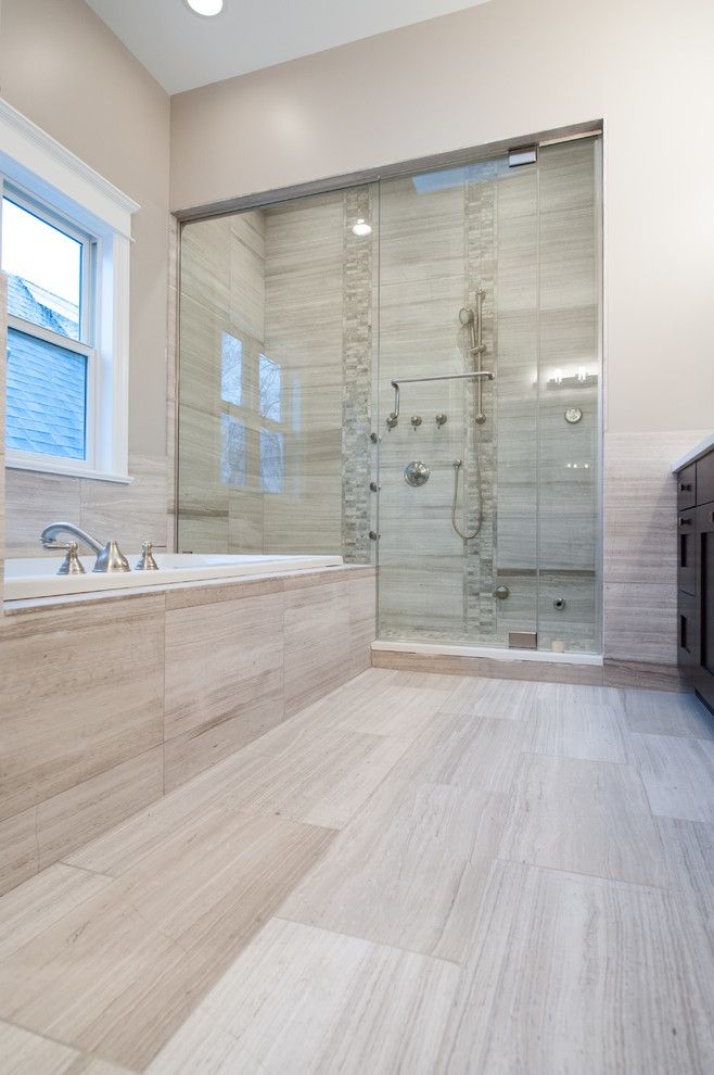 Honed Marble for a Contemporary Bathroom with a Limestone and White Oak Honed Marble Bathroom by Home Carpet One