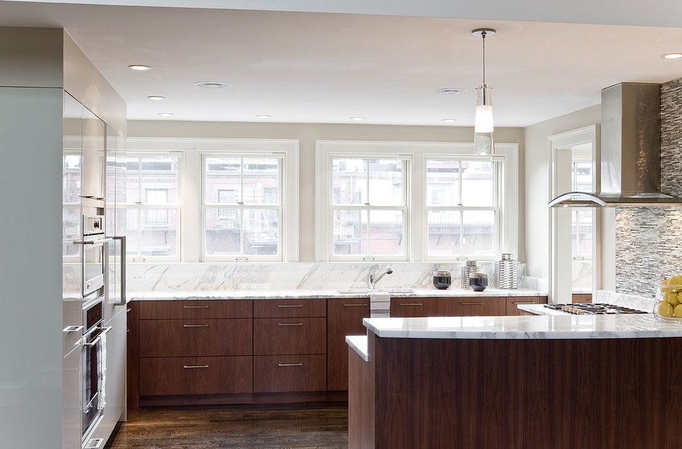 Honed Marble for a Contemporary Kitchen with a Pendant Light and Union Park Penthouse Kitchen by Venegas and Company