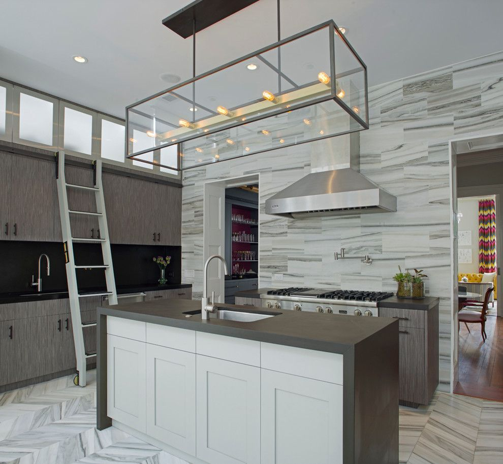 Honed Marble for a Contemporary Kitchen with a Savannah and West Perry Street by Rethink Design Studio