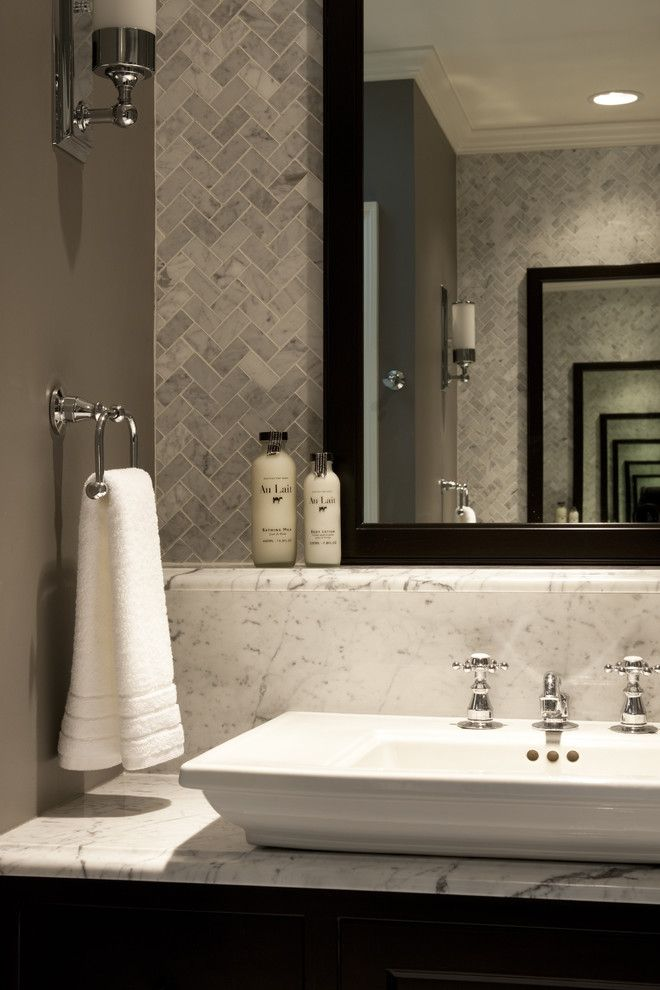 Honed Marble for a Traditional Bathroom with a Towel Ring and Seeley Master Bath B by Michael Abrams Limited