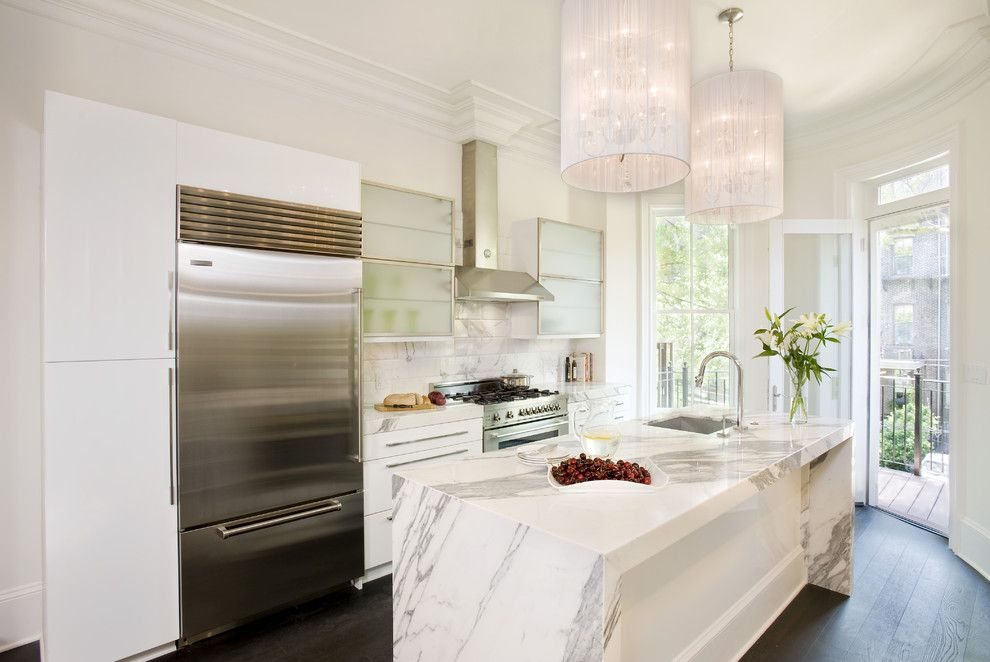 Honed Marble for a Transitional Kitchen with a White Cabinets and Claremont Park by Melissa Miranda Interior Design