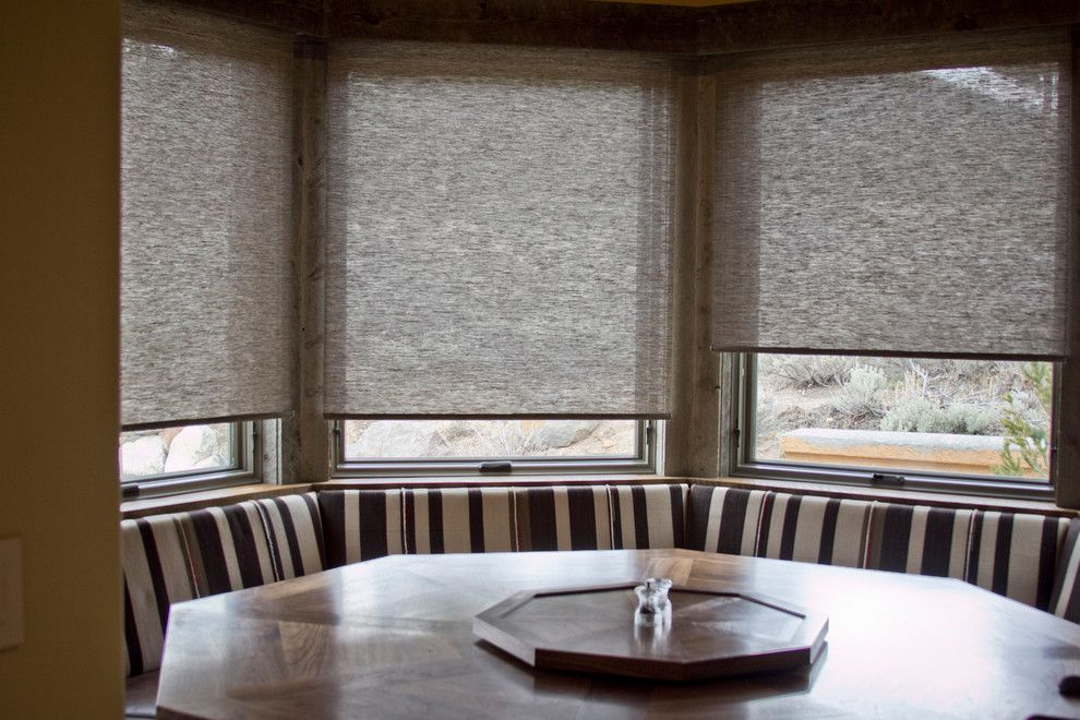 Horizons Window Fashions for a Craftsman Spaces with a Window Coverings and Hunter Douglas Alustra Shades   Woven Textures by Horizon Window Fashions