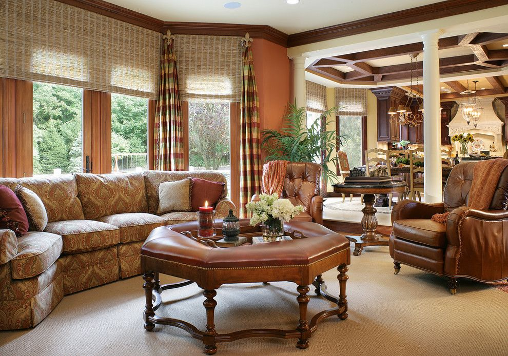 Horizons Window Fashions for a Traditional Family Room with a Wood Trim and Karla Trincanello, Nj Cid; Asid Allied by Karla Trincanello Cid   Interior Decisions, Inc.