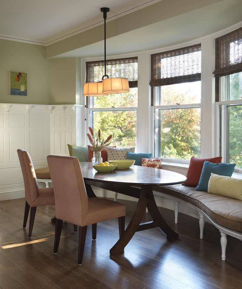 Horizons Window Fashions for a Traditional Kitchen with a Banquette and Kitchen by Rachel Reider Interiors