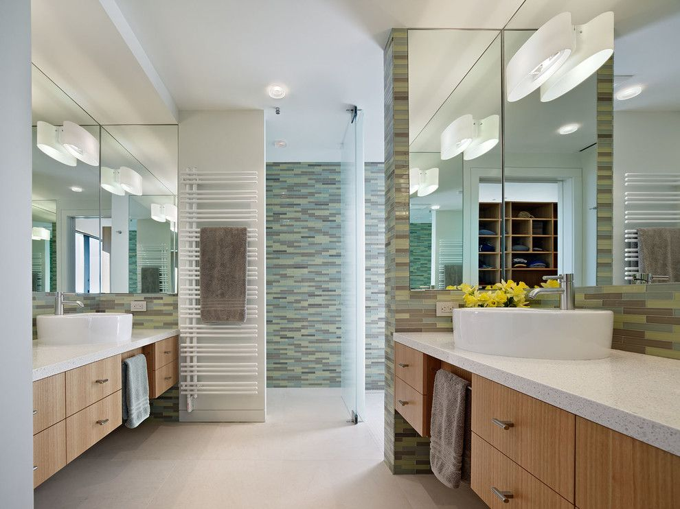 Hortons Lighting for a Contemporary Bathroom with a Analogous Color Scheme and Russian Hill Residence by Moroso Construction