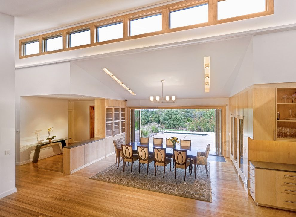 Hortons Lighting for a Contemporary Dining Room with a Open Floor Plan and Los Altos Residence by Matarozzi Pelsinger Builders