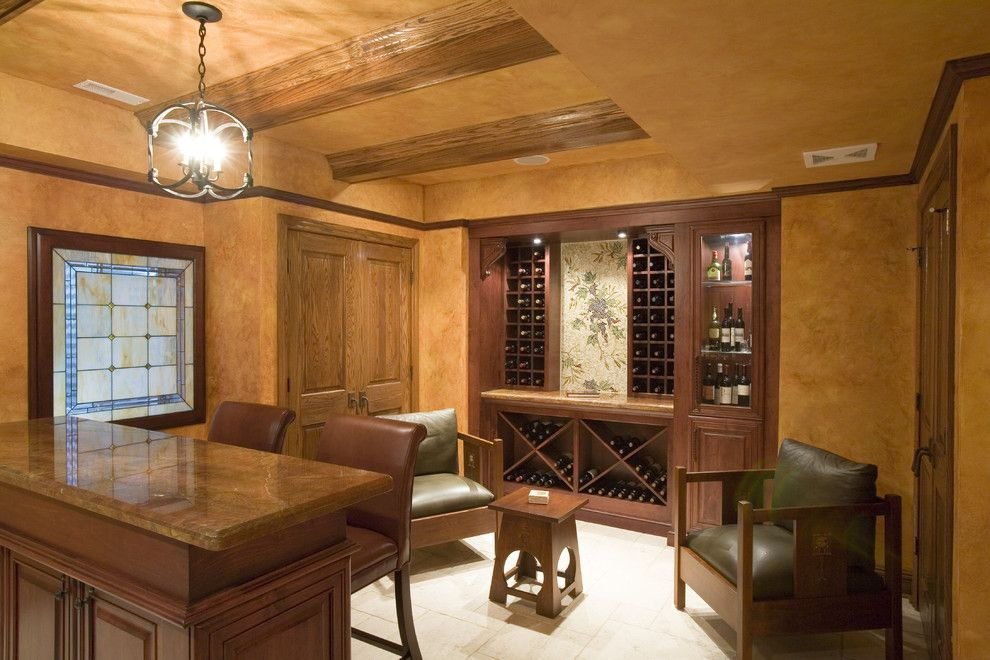 Hortons Lighting for a Rustic Wine Cellar with a Pendant Lighting and Wine Cellar by Cheryl D & Company