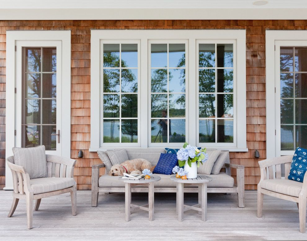 House Hunting Checklist for a Beach Style Porch with a Wood Outdoor Table and Shelter Island Beach House by Wettling Architects