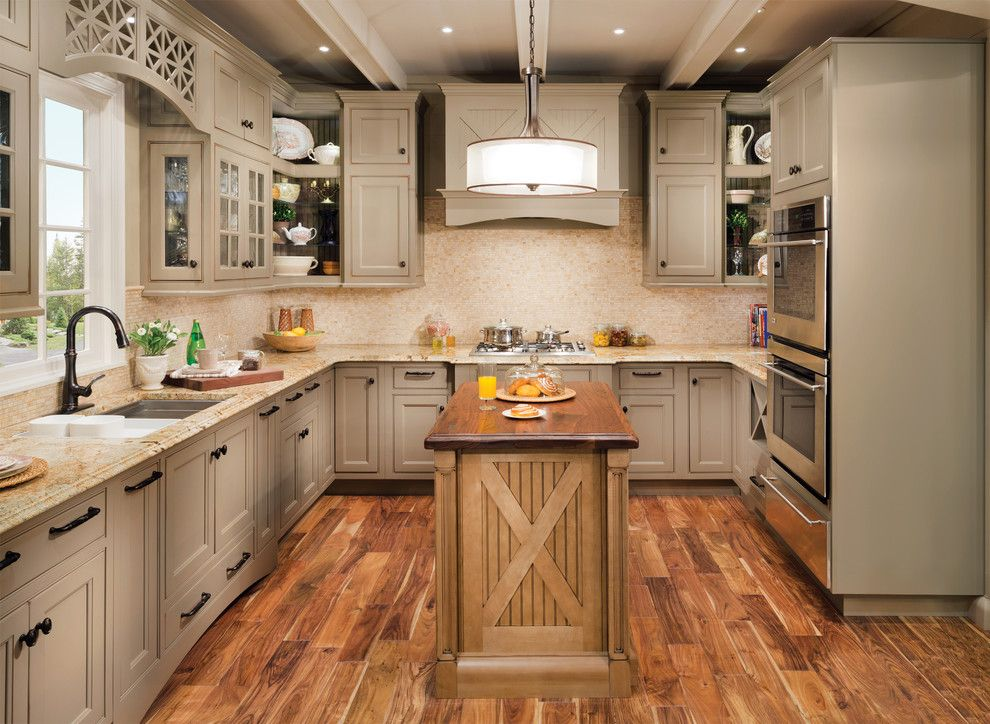 How to Build Floating Shelves for a Contemporary Kitchen with a Beige Countertop and Wellborn Cabinet by Wellborn Cabinet, Inc.