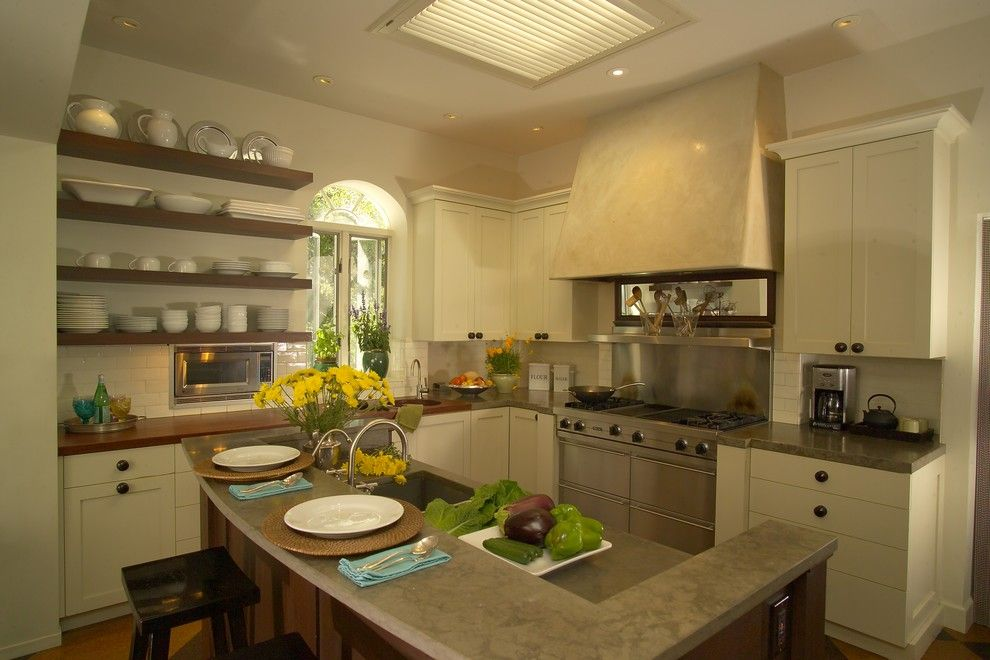 How to Build Floating Shelves for a Contemporary Kitchen with a Wall Treatment and Details by Jane Ellison