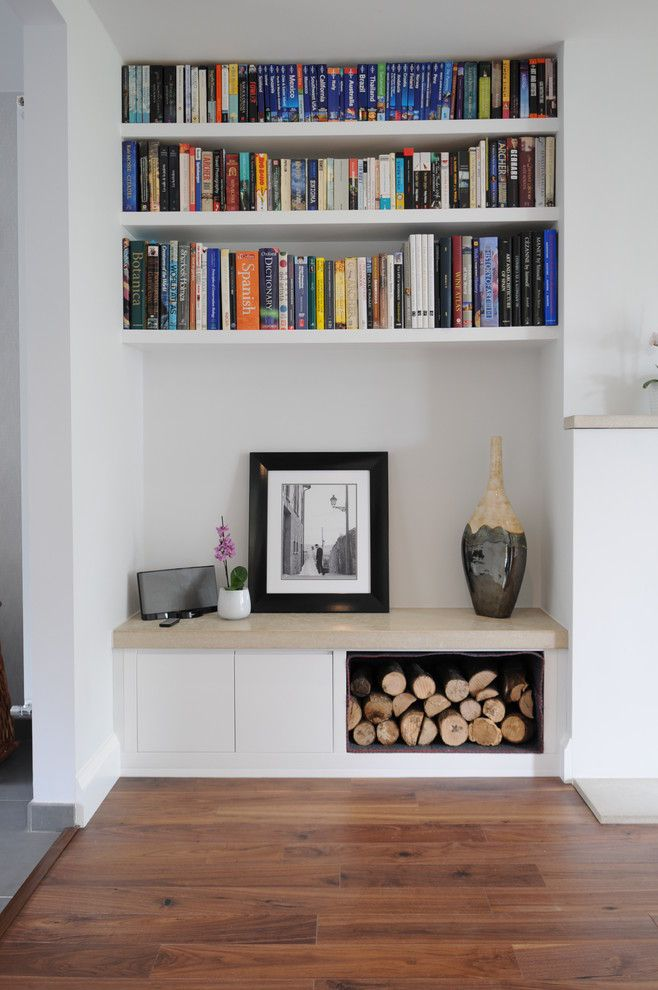 How to Build Floating Shelves for a Contemporary Living Room with a Bookshelves and Collection of Bespoke Fitted Furniture Projects by Claude Clemaron Bespoke Wood Interiors
