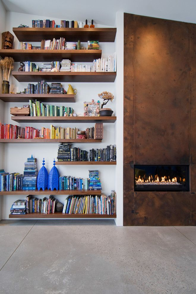How to Build Floating Shelves for a Contemporary Living Room with a Metal Fireplace Mantel and My Houzz: The Thorns by Lucy Call