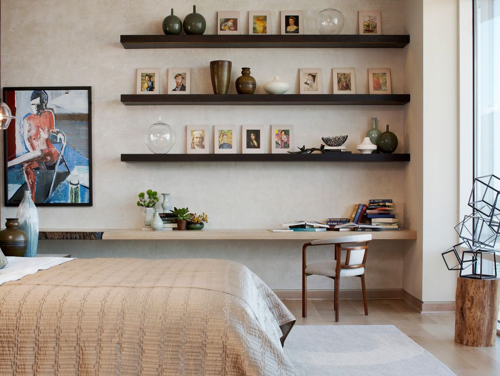How to Build Floating Shelves for a Modern Bedroom with a Wood Chair and W Dallas Penthouse by Laura Kirar Design
