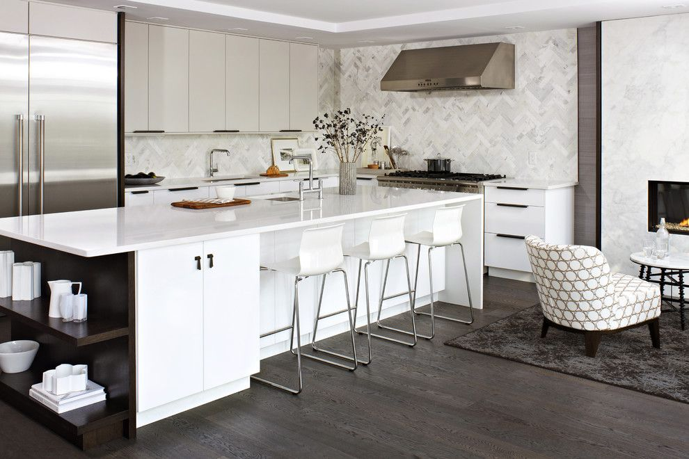 How to Clean Engineered Hardwood Floors for a Contemporary Kitchen with a Thermador and Modern White Kitchen by Croma Design Inc