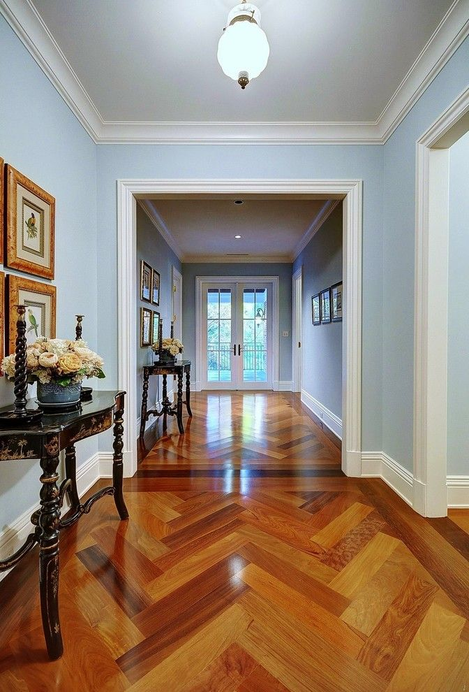 How to Clean Engineered Hardwood Floors for a Traditional Hall with a Light Blue and Hall Pass by Tuthill Architecture