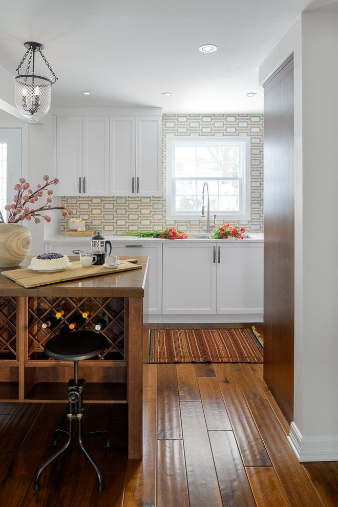 How to Clean Engineered Hardwood Floors for a Transitional Kitchen with a Custom Wine Rack and Eclectic Kitchen Renovation by Astro Design Centre