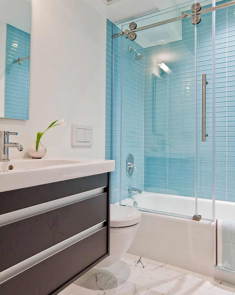 How to Clean Glass Shower Doors for a Contemporary Bathroom with a Glass Shower Door and Boston Contemporary by Ana Donohue Interiors