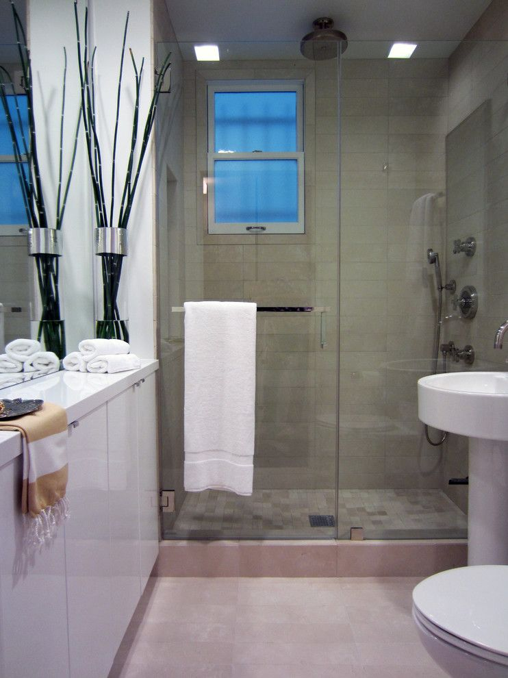 How to Clean Glass Shower Doors for a Contemporary Bathroom with a Tile Flooring and Bathroom by Michael Goodsmith Design