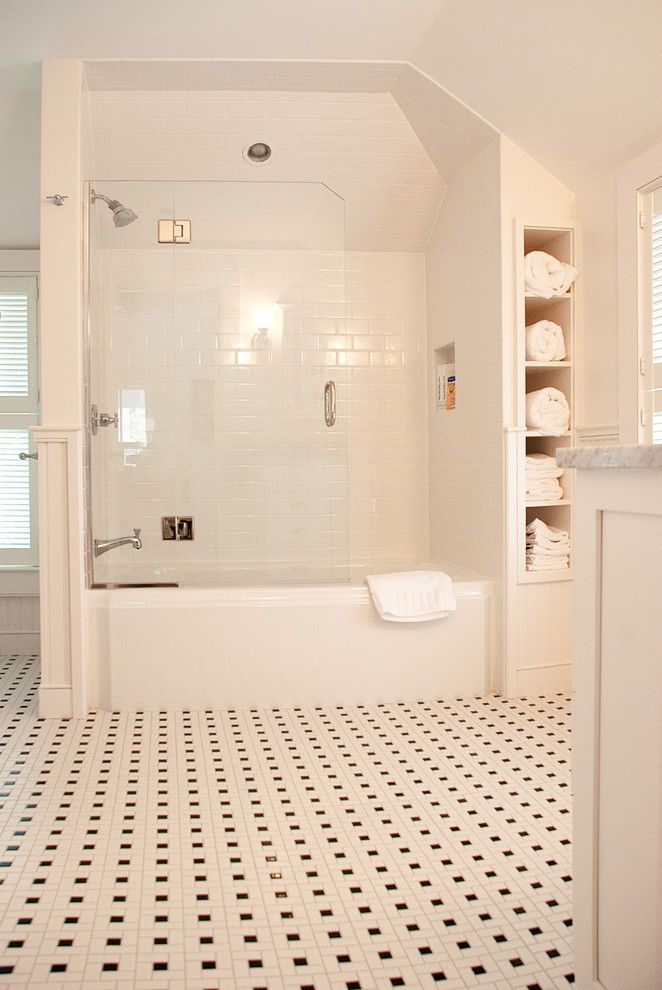 How to Clean Glass Shower Doors for a Traditional Bathroom with a Glass Shower Door and Provincetown Beach House by Mary Prince Photography