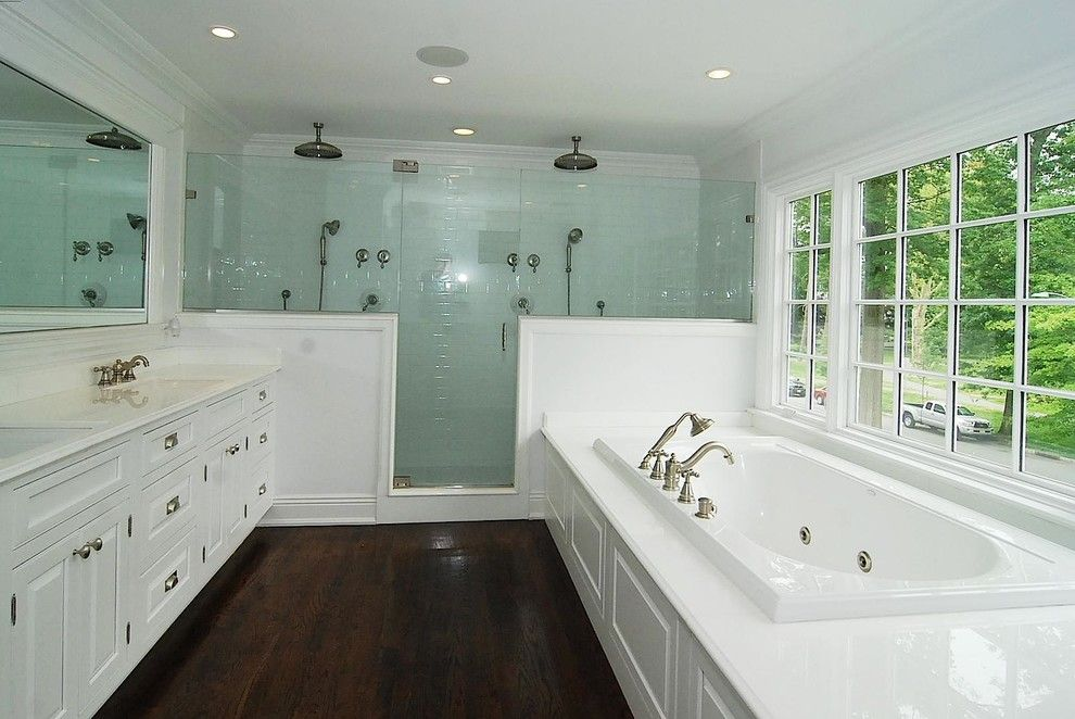 How to Clean Glass Shower Doors for a Traditional Bathroom with a High Gloss Counter and Edgemont Road House, Montclair, Nj by Oasis Architecture