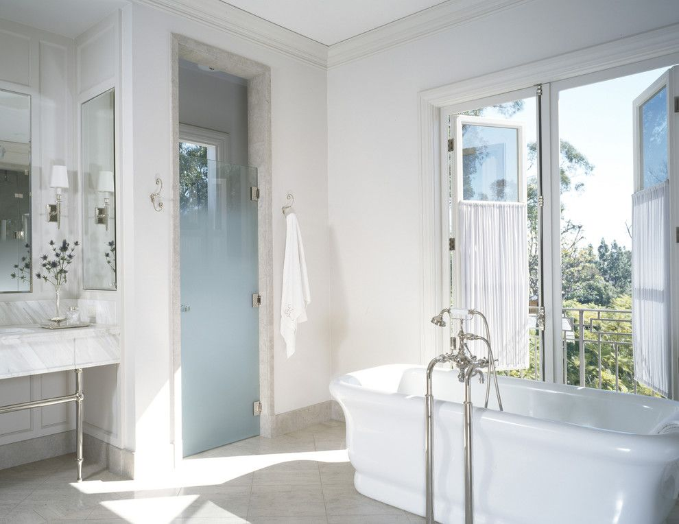 How to Clean Glass Shower Doors for a Transitional Bathroom with a Balcony and William Hefner Architecture Interiors & Landscape by Studio William Hefner