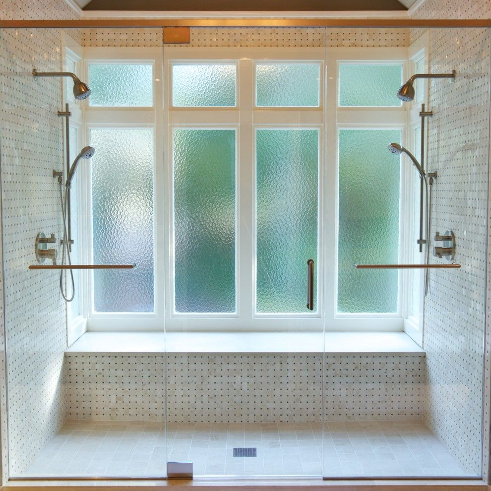 How to Clean Glass Shower Doors for a Transitional Bathroom with a Two Shower Heads and Powder Springs Master Bath by Addhouse