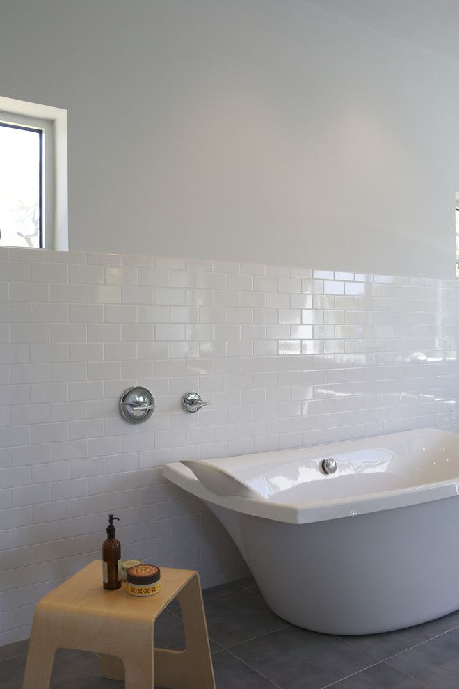 How to Clean Grout Lines for a Modern Bathroom with a Tile Flooring and Caudill Lane by Webber + Studio, Architects