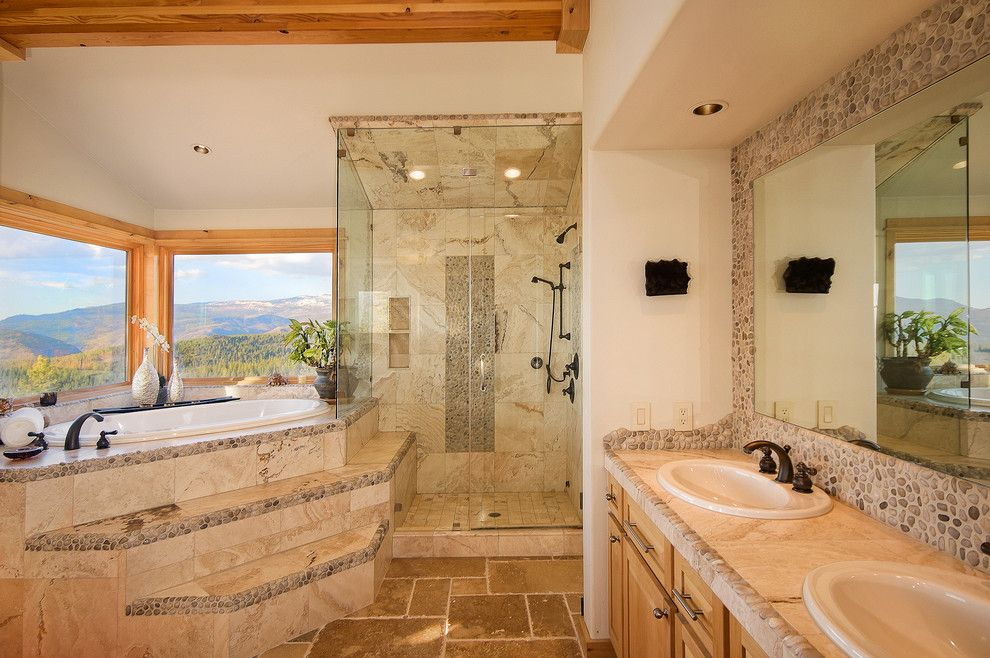 How to Clean Grout Lines for a Traditional Bathroom with a Stone Backsplash and Bathrooms by Tahoe Real Estate Photography