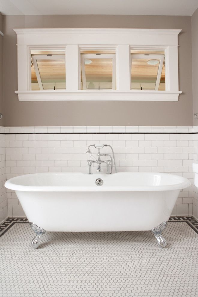 How to Clean Grout Lines for a Traditional Bathroom with a Tile Stripe and Classic Subway Tile Bathtub Surround by Clay Squared to Infinity