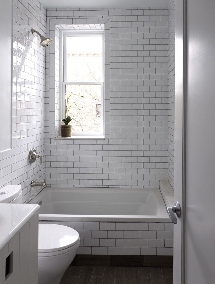 How to Clean Grout on Tile Floor for a Contemporary Bathroom with a White Bathroom and Brooklyn Bathroom by Horrigan O'malley Architects