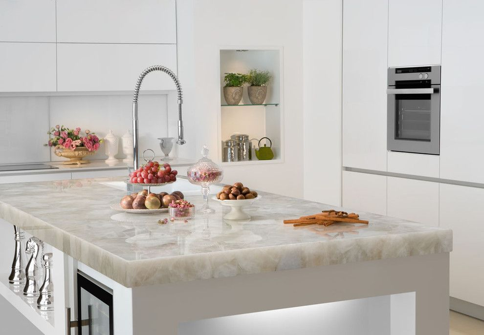 How to Clean Quartz Countertops for a Contemporary Spaces with a White Quartz and White Quartz Countertop by Marble of the World