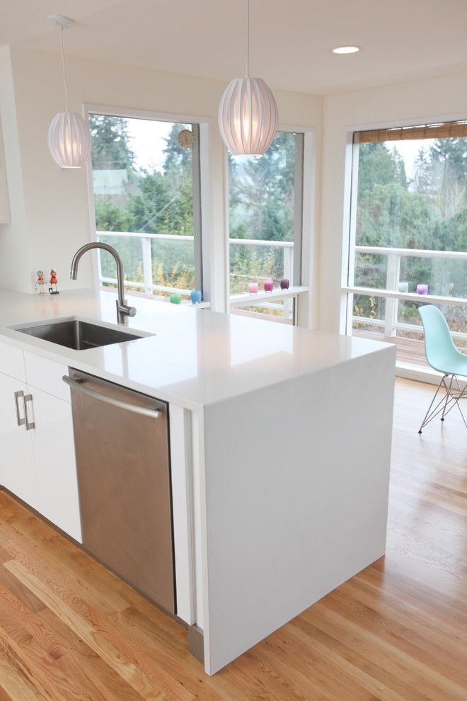 How to Clean Quartz Countertops for a Midcentury Kitchen with a White Kitchen and Mid Century Modern Kitchen Countertop by Id by Gwen