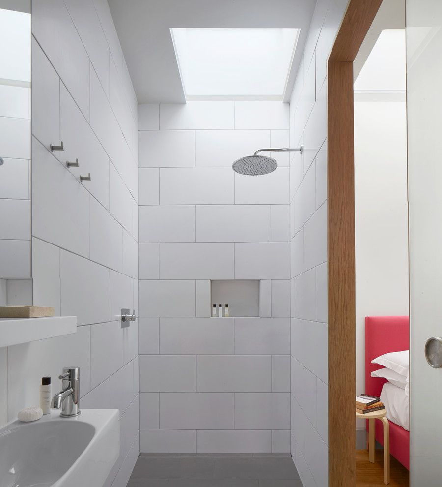 How to Clean Shower Grout for a Contemporary Bathroom with a Walk in Shower and Number 23 by MATT Architecture LLP