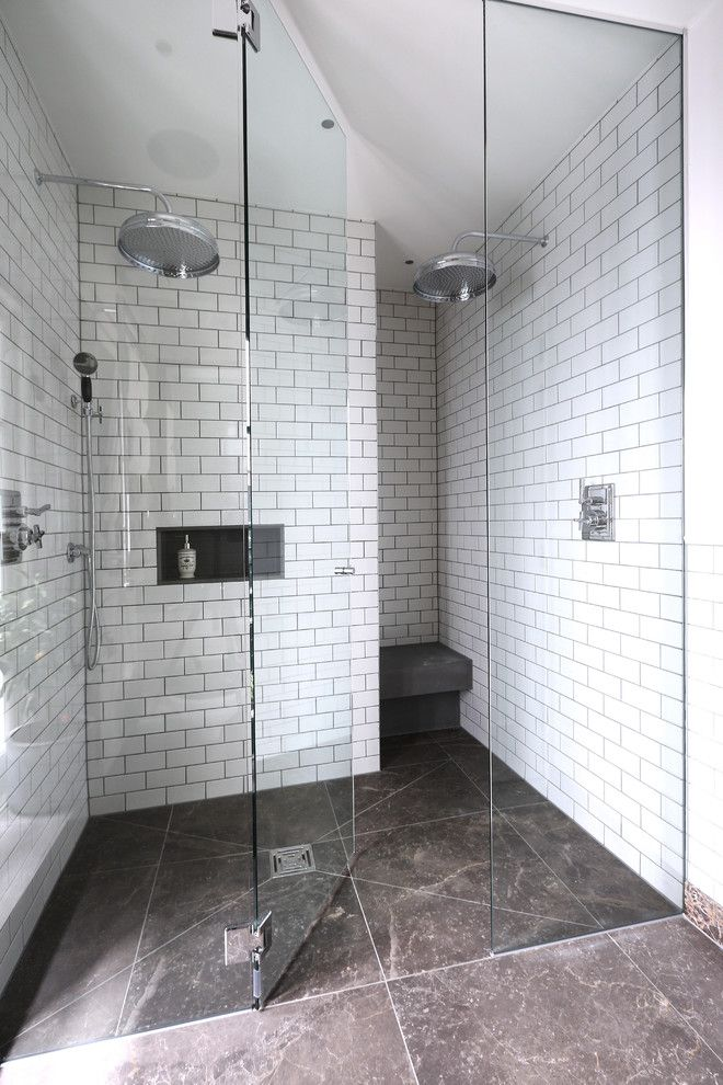 How to Clean Shower Grout for a Contemporary Bathroom with a Walk in Shower Design and Gatti Apartment 3 for Peek Architecture by Alex Maguire Photography