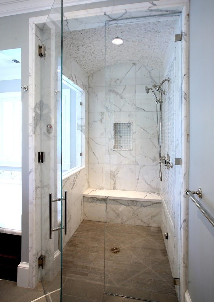 How to Clean Shower Grout for a Traditional Bathroom with a Drain and Atherton, California Luxury Home by Markay Johnson Construction by Markay Johnson Construction